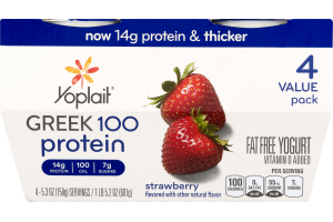 Yoplait Greek 100 Protein Fat Free Yogurt Strawberry - 4 CT