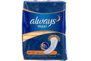 Always Maxi Overnight Pads - 28 CT