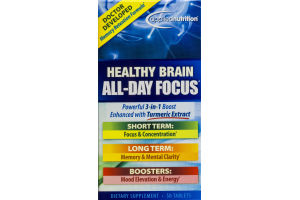 Applied Nutrition Healthy Brain All-Day Focus Dietary Supsplement Tablets - 50 CT