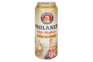 Пиво 0.5л 5.5% светлое нефильтрованное Paulaner Hefe-Weissbier ж/б