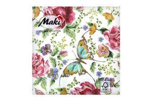 Салфетка бумажнаяMaki с рисунком 3-сл M-03