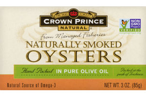 Crown Prince Natural Naturally Smoked Oysters In Pure Olive Oil