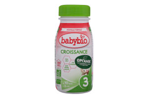 Суміш молочна рідка для дітей від 10міс Croissance 3 Babybio п/пл 250мл