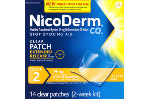 NicoDerm CQ Stop Smoking Aid Clear Patch 14 mg 2-Week Kit - 14 CT