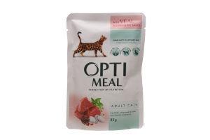 Корм повнораціонний консервований для дорослих котів з телятиною у журавлиновому соусі Optimeal 0,085 кг