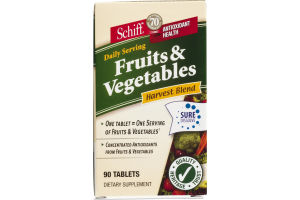 Schiff Daily Serving Fruits & Vegetables Harvest Blend Dietary Supplement - 90 CT
