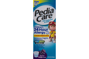 PediaCare Children's 24 Hour Allergy Oral Solution Ages 2 Years & Older Dye Free Grape Flavor