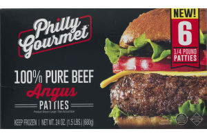 Philly Gourmet 100% Pure Beef Angus Patties - 6 CT