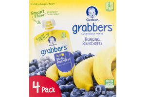 Gerber Grabbers Squeezable Puree Banana Blueberry - 4 PK