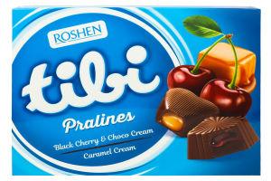 Конфеты шоколадные Black cherry&choco cream Tibi pralines Roshen к/у 119г