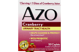 Azo Cranberry Urinary Tract Health Supplement Caplets - 50 CT