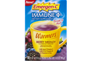 Emergen-C Warmers Immune+ Dietary Supplement Drink Mix Berry Medley - 10 CT