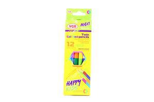 Карандаши VGR Colored pencils Happy kids Maxi двухстор 12цветов к/у арт001212DD