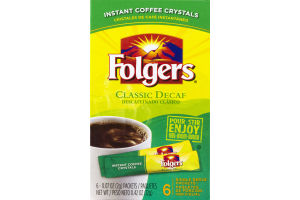 Folgers Instant Coffee Crystals Classic Decaf Single Serve Packets - 6 CT