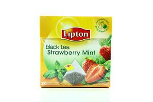 Чай Lipton Strawberry Mint черный в пакетиках с/я пирамидка 20шт*1,6г