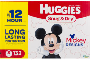Huggies Snug & Dry Diapers Size 3 - 132 CT