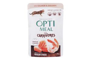 Корм влажный для взрослых котов с лососем и креветками в соусе Optimeal м/у 85г