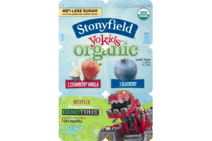 Stonyfield Organic YoKids Organic Yogurt Strawberry Vanilla & Blueberry - 6 CT