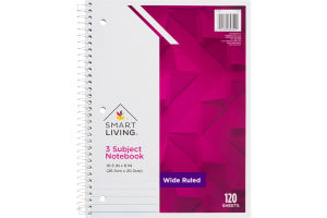 Smart Living 3 Subject Notebook Wide Ruled 120 Sheets