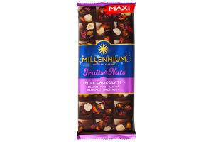 Шоколад Millennium Fruits&Nuts мол.миндаль, фундук, клюква, изюм 140г