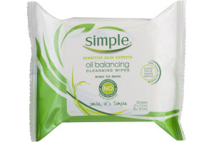 Simple Oil Balancing Cleansing Wipes - 25 CT