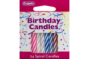 Culpitt Birthday Candles Spiral Candles Multi - 24 CT