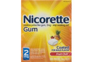 Nicorette Gum Stop Smoking Aid 2mg Fruit Chill - 100 PCS
