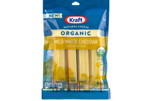 Kraft Natural Cheese Organic Mild White Cheddar Cheese Sticks - 8 CT