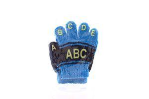 Перчатки детские трикотажные черно-голубые №113630 Seven 1пара