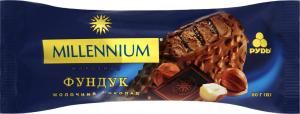 Морозиво вершкове Молочний шоколад-фундук Millennium Рудь м/у 80г