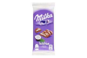 Шоколад молочний пористий Кокос Bubbles Milka м/у 97г