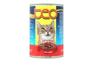 Тео Повноцінний консервованний корм з яловичиною для дорослих котів з/б 415г