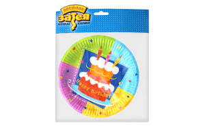 Тарелка бумажная 17см №1502-0710 Торт Birthday Веселая затея 6шт