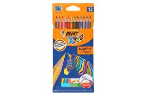 Олівці кольорові Evolution Stripes BIC 12шт