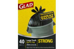 Glad Strong Quick-Tie Large Trash Bags, 30 Gallon, 40 Count