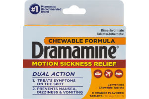 Dramamine Chewable Formula Motion Sickness Relief Tablets Orange Flavored - 8 CT