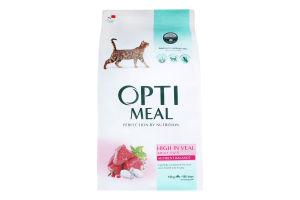 Корм сухой для взрослых котов с высоким содержанием телятины Optimeal м/у 10кг