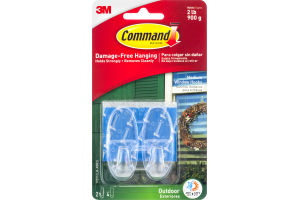 Command Damage-Free Hanging Outdoor Medium Window Hooks Clear - 2 CT