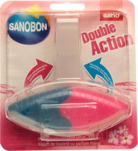 Засіб для миття унітазів SANO подвійна дія Квіти 55гр