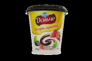Десерт сирковий 3,4% з наповнювачами полуниця-ківі і шоколад Дольче (стаканчик 0,300 кг)