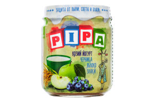 Пюре з яблук та чорниць з додаванням йогурта з козячого молока і злаків для дітей від 6міс PiPa с/б 100г