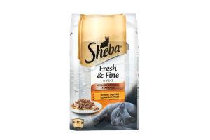 Набір повнораціонних консервованих кормів з птицею в соусі для дорослих котів Sheba 300 гр.