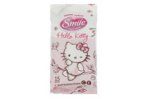 Салфетки влажные для всей семьи Hello Kitty Smile 15шт