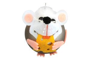 Прикраса ялинкова.Куля скляна,різнокольорова 55 мм символ року в асортименті, шт