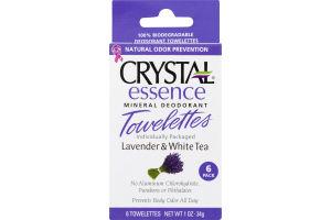 Crystal Essence Mineral Deodorant Towelettes Lavender & White Tea - 6 PK