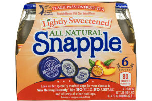 Snapple All Natural Lightly Sweetened Peach Passionfruit Tea - 6 CT