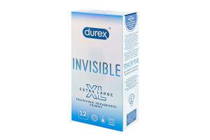 Презервативи латексні з силіконовою змазкою XL Invisible Durex 12шт