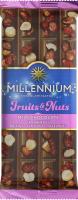 Шоколад молочний з мигдалем, цілими лісовими горіхами, журавлиною та родзинками Fruits&Nuts Millennium м/у 90г
