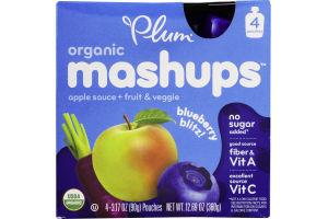 Plum Organic Mashups Apple Sauce + Fruit & Veggie Blueberry Blitz - 4 CT