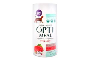 Корм сухий для стерилізованих котів З яловичиною та сарго Optimeal к/у 650г
